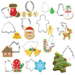 Mold Cutters Australia - 14Pcs Christmas Cookie Cutter Xmas Fondant Mold Stainless Steel Pastry Tools Bakeware Cake Baking Mold Kitchen Tool Decorating Tools