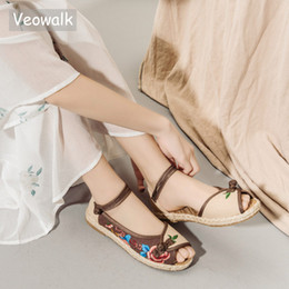 $enCountryForm.capitalKeyWord Australia - Veowalk Handmade Linen Embroidered Peep Toe Sandals Women Espadrilles Platform Bohemian Vegan Summer Flat Shoes sandalias mujer