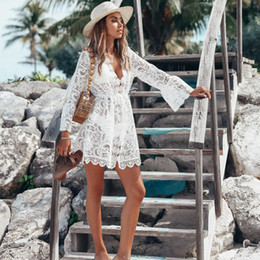 style clothes women summer beach NZ - Boho Style Women Lace Prom Dress Summer Loose Casual Beach Mini Swing Dress Long Sleeves Women Clothing Sun Dress
