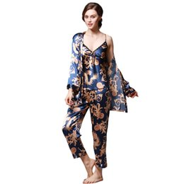 Women pajamas three piece online shopping - Pajamas for women home suit female Women Simulation Silk Print Pajamas Three Piece Long Sleeved Trousers Camisole