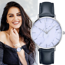 men classic leather gold watch 2019 - 2019Women's Clock Ladies dress watch Simple Stylish Marble Dial Watches Men Women Slim Leather Analog Classic Casua