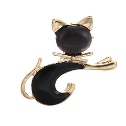 $enCountryForm.capitalKeyWord UK - Wholesale European and American Style Lovely Cat White and Black Drop-oil Pins Brooches Coat Accessories X1110