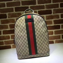 women canvas lace backpacks NZ - 2019 Top Quality Celebrity design Letter embossed Green Stripe Strap canvas leather Backpack Man Woman 443805 Canvas Travel bag