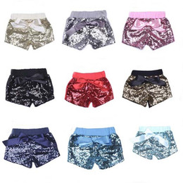 Hottest Girl Short Pants NZ - Girls Mermaid Sequins Short Pants Candy Color Bow Chlid Shorts Fashion Mini Trouseres Hot Summer Home Clothes 25to E1
