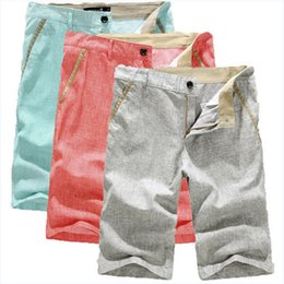 Discount mens fashion linen pants - Candy Color Summer Mens Shorts Casual Knee Length Pants Fashion Straight Solid Linen Beach Shorts Free Shipping