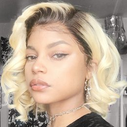 Blonde two tone wigs online shopping - Fashion Two Tones Blonde Wig Synthetic Lace Front Wig Short Bob Wave Wigs for Women Dark Roots Natural Hairline Heat Resistant Fiber Hair
