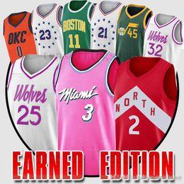 1726261f72c Dwyane 3 Wade Earned Edition jerseys Kawhi 2 Leonard Men Derrick 25 Rose  Irving Embiid Jimmy 23 Butler Mitchell Wade jersey Westbrook