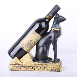 Wholesale Europe Egyptian God Cat Wine Rack Ornaments Creative Wine Holder Home Kitchen Bar Decor Accessories Resin Crafts Christmas Gifts