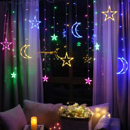 OutdOOr decOratiOn lamps online shopping - Moon Star Lamp LED Lamp String Ins Christmas Lights Decoration Holiday Lights Curtain Lamp Wedding Neon Lantern v Fairy Light