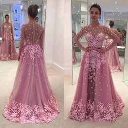 $enCountryForm.capitalKeyWord Australia - Vintage Pink Mermaid Evening Gowns Detachable Train Long Sleeve With Appliques Flower Illusion Tulle Prom Gowns 2019 Party Dress