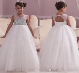 $enCountryForm.capitalKeyWord Australia - Princess White Wedding Flower Girl Dresses Empire Waist Crystals Open Back Custom Made Cheap Baby Communion Girls Pageant Dress
