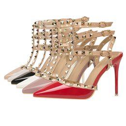 404d03e9dec4 Red Glitter Shoes Women Australia - Women High Heels Dress Shoes Party  Fashion Rivets Girls Sexy