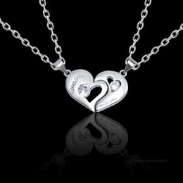 plastic slide set Australia - 2019 2pcs set New Hollow Heart-shaped Pendant Love You Miss You Pendant Necklace Silver Alloy Lover Jewelry Valentine's Day Gift
