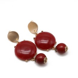 Clip Charms Free Shipping Australia - Free Shipping Red Gray Colors Sweet Beads Charm Alloy Resin Elegant Sweet Clip-on Earring For Women