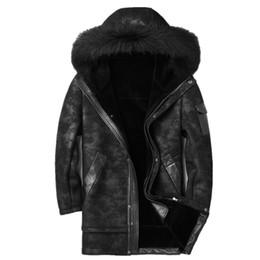 $enCountryForm.capitalKeyWord Australia - Genuine Leather Jacket Winter Jacket Men Raccoon Fur Collar Sheepskin Coat for Men Wool Fur Liner Warm Jackets Plus Size MY1808