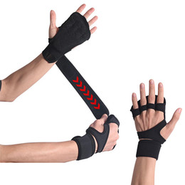 hands protector Canada - Free DHL Grips Gym Wrist Band Crossfit Hand Palm Protector Sports Weight Lifting Gloves Fitness Training Workout Gymnastics Wrist Wrap M424F