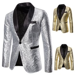 gold fashion men suit Australia - Fashion Designer Men Wedding Suits Silver Gold Floral Tuxedo Men Slim Fit Blazer Plus Size Dress Suits Nightclub Stage Costumes