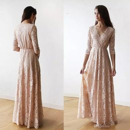 $enCountryForm.capitalKeyWord NZ - Vintage Champagne Lace 3 4 Long Sleeve Bridesmaid Dresses 2019 Plus Size V-neck Full length Maid of Honor Junior Wedding Guest Dinner Gown