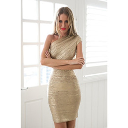 hot dress street Australia - Gold Stamp One Shoulder Bandage Dress 2018 Hot Sale Women Mini Dresses Celebrity Party Club Bodycon Sleeveless Empire Vestido T5190615