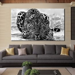 leopard wall pictures 2019 - 1 Pcs Modern Black and White Posters and Prints Wall Art Canvas Painting Wall Decoration Leopard Pictures for Living Roo