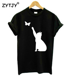 Women butterfly tshirt online shopping - cat catching butterfly Print Women tshirt Cotton Casual Funny t shirt For Lady Girl Top Tee Hipster Drop Ship