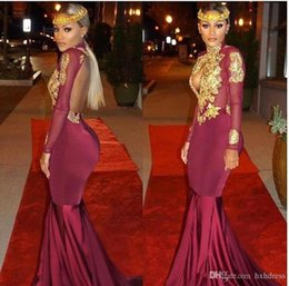 African Classic Dresses Australia - 2019 New African Burgundy Long Sleeve Gold Lace Prom Dresses Mermaid Satin Applique Beaded High Neck Backless Court Train Prom Party Gowns