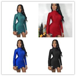 $enCountryForm.capitalKeyWord NZ - Women Bodycon Dresses 2019 Fashion Women Solid High Collar Package Hip Skirt Long Sleeves Sexy Petticoat Night Club Party Clothing Hot K8667