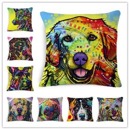new bedding styles 2019 - Fashion Cushion European Style New Home Decor Square Cojines Dogs Printed Cotton Linen Hot Sale Sofa&Bed Throw Pillow di