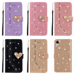 bling iphone flip cases Australia - Heart Sparkle Leather Wallet Case For Iphone 11 XR XS MAX X 8 7 6 SE 5S Samsung Note 10 Love Bling Diamond Glitter Sparkly Luxury Flip Cover
