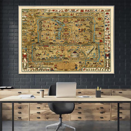 wall stickers canvas NZ - 1936 Maps Beijing Imperial Palace China HD Map Vintage Canvas Paintings Retro Kraft Posters Wall Stickers Home Decor Family Gift