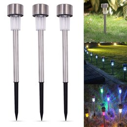 color changing solar path lights 2021 - US Stock 10Pcs Outdoor Stainless Steel Solar Power 7 Color Changing LED Garden Landscape Path Pathway Lights Lawn Lamp