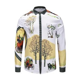 Casual Men S Shirts Flowers Australia - Italian Brand Medusa Men\'s Long-sleeved Shirt Men\'s Casual Shirt Flower 3d Printing Business Slim Harajuku Silk Shirt Lion Printing