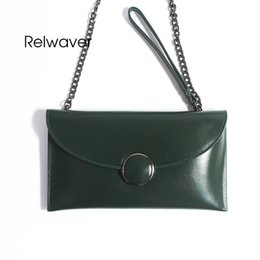 Cowhide ClutCh phone online shopping - Relwaver cowhide split leather clutch bag small ink green shoulder bag cell phone thin women messenger bags chain lock wrist