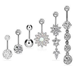 Wholesale New 6Colors Piercing Body Jewelry Belly Button Navel Rings Dangle Body Piercing Jewelry Accessories Charming Sexy Rings Bar