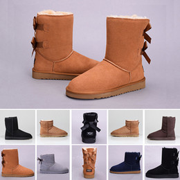 Long snow boots online shopping - Cheap Snow Winter WGG Leather Women Australia Classic kneel half Long Boots Ankle Black Grey chestnut navy blue red coffee Womens girl shoes