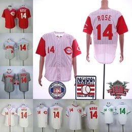 White Rose Pullover Australia - 14 Pete Rose Jersey With 150th Hall of Fame Patch Vintage All Stitched Cincinnati Montreal Expos Baseball Jerseys White Grey Pullover