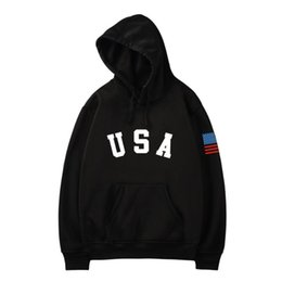 Wholesale usa flag sweatshirts for sale – custom 2020 Men women Autumn Hoodies Sweatshirts Fashion Hoodie USA Letter Flag Printed Sweatshirt Long Sleeve Pullover Tops Blouse