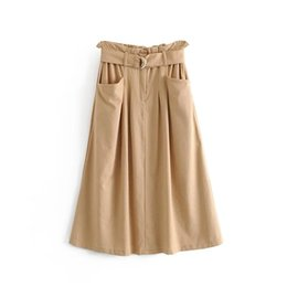 Discount jupe clothing - Klacwaya new women linen skirts 2019 fashion ladies chic high waist midi skirt with belts girls street-wear jupe femme c