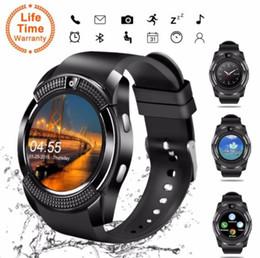 Bluetooth Smart Watch Sim Australia - V8 Bluetooth Smart Watch Round Screen with SIM   TF Card Clock Camera SmartWatch Wristwatch for Android iOS Phone PK DZ09