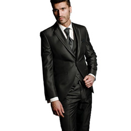 men wedding prom suits groom tuxedos UK - New Arrival One Button Groomsmen Notch Lapel Groom Tuxedos Men Suits Wedding Prom Best Man Blazer ( Jacket+Pants+Vest+Tie) AA12