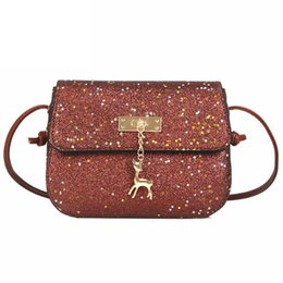 $enCountryForm.capitalKeyWord NZ - Glitter Women Messenger Shoulder Bag Shining Pu Leather Party Day Clutches Purses Handbags Deer Sequin Decor Crossbody Bags