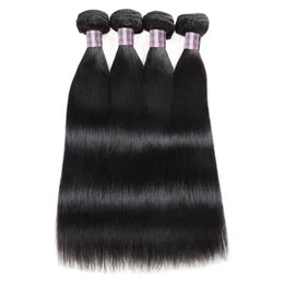 Ishow Brazilian Human Hair Bundles Wholesale 4pcs Peruvian Straight Virgin Hair Weave Extensions for Women All Ages Natural Color Black on Sale