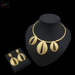 $enCountryForm.capitalKeyWord Australia - Yulaili Simple Design Big Pendant Water Drop Shape Gold Plated Necklace Earrings Jewelry Set For Women Party