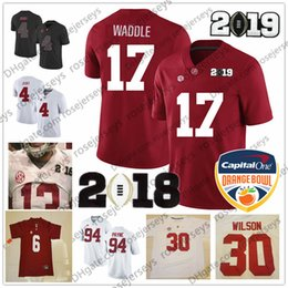 10e38691f Alabama Crimson Tide  17 Jaylen Waddle 30 Mack Wilson 6 Devonta Smith 82  Irv Smith Jr. 2019 Championship Orange Bowl Red White Jerseys