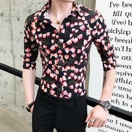 b16db087753f Korean Mens Half Sleeve Print Shirts Men Slim Fit Casual Blouse Homme 3XL  Clothes Summer Fashion Personality Printing Men Shirt