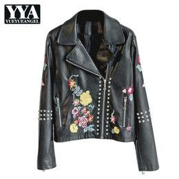 $enCountryForm.capitalKeyWord Australia - 2019 Spring Autumn Korean Flower Embroidery Rivet PU Leather Jacket Women Slim Short Black Motorcycle Coat Ladies Outwear New