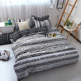$enCountryForm.capitalKeyWord Australia - Geometry Bedding Sets Black Color Duvet Cover with Pillowcases Single Queen King Size Bed Quilt Cover 3pcs Bedlinen