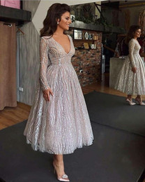 Cheap Bling Bling Sparkly Short Prom Dresses In Stock Long Sleeves V Neck Silver Color African Arabic Party Dresses Formal Dress on Sale