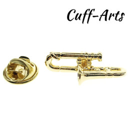 Discount gold trombone - Lapel Pin Music Lapel Pin Badge Gold Trombone 2018 Men Jewelry Gift Music Fan With Gift Box By Cuffarts P10073