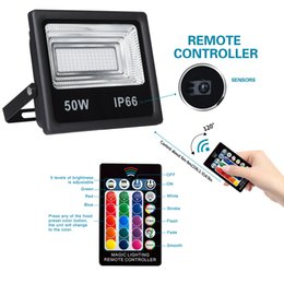 Wholesale LED Flood Light RGB with Remote Control, IP66 Waterproof Floodlight,Indoor Outdoor Decorative Garden Landscape Lighting with 16 Colors